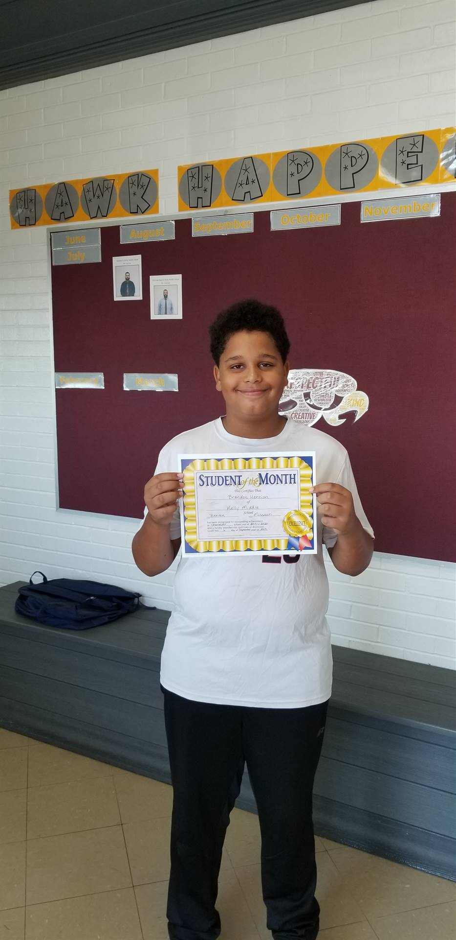 6th Grade Student of the Month - September