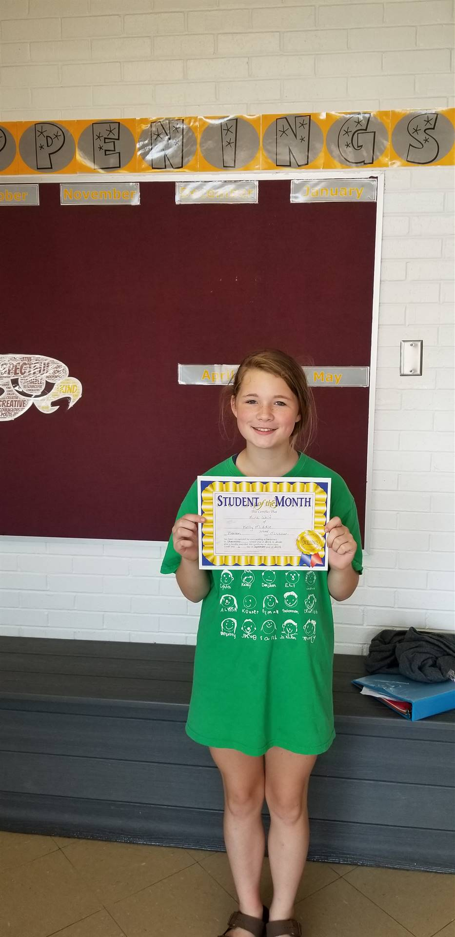 7th Grade Student of the Month - September