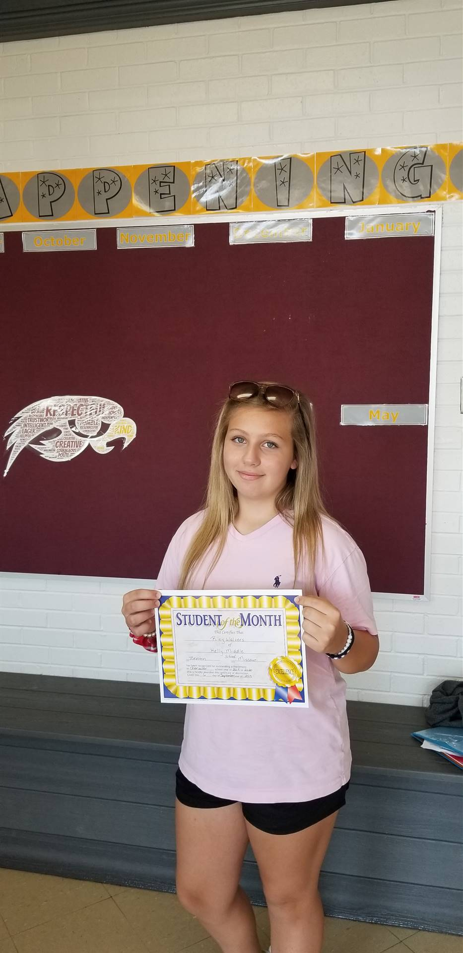 8th Grade Student of the Month - September