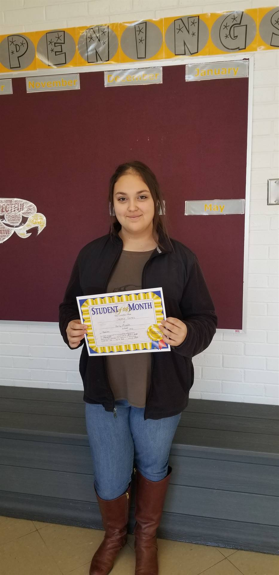 8th Grade Student of the Month - October