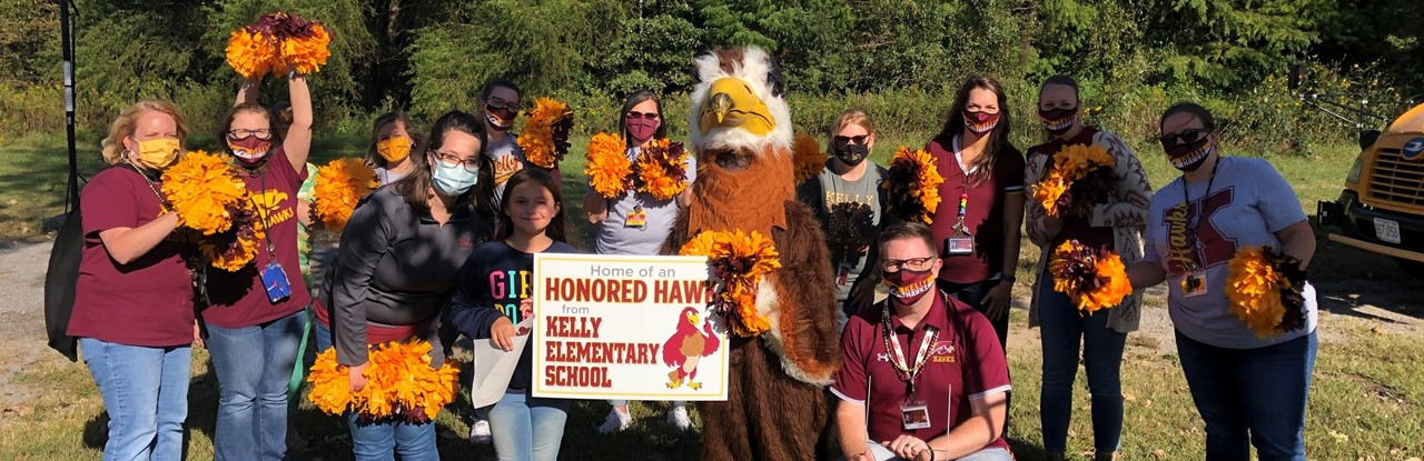 KES Faculty & Staff celebrate Honored Hawks with a certificate and yard sign.